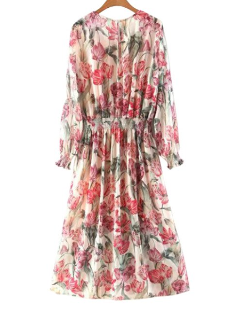 latest Floral Long Sleeve Blouson Dress - COLORMIX L Mobile
