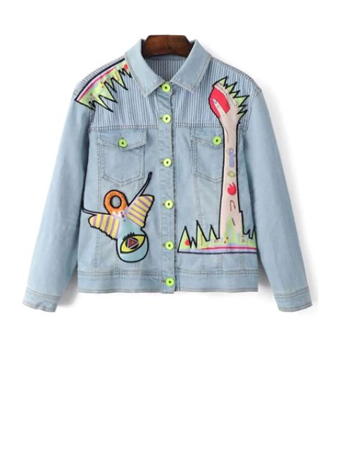 shops Denim Shirt Collar Long Sleeve Embroidery Jacket - LIGHT BLUE S Mobile