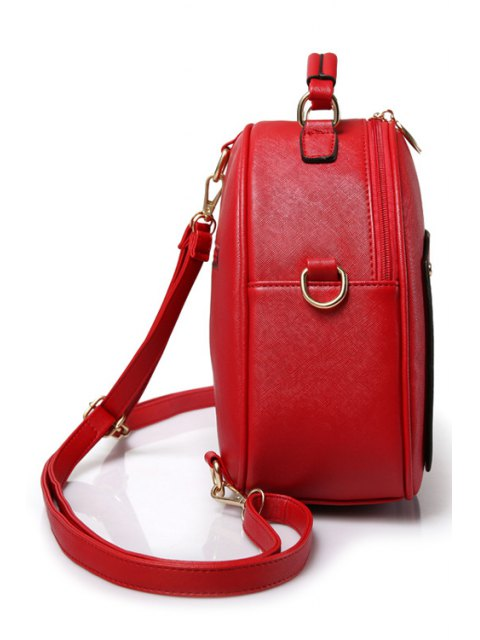 new Solid Color Stitching Metal Satchel - RED  Mobile