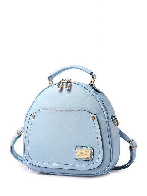 best Solid Color Stitching Metal Satchel - LIGHT BLUE  Mobile