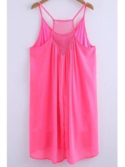 Chiffon Mesh Design Flippy Dress - PINK M Mobile