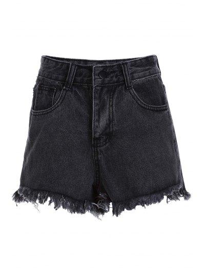 Stylish High Waist Denim Black Women's Shorts - Black M