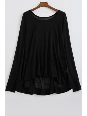 Loose High-Low Round Neck Long Sleeve Sweater - Black