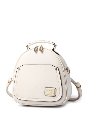 Solid Color Stitching Metal Satchel - Off-white