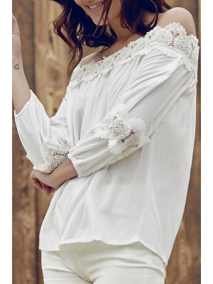 Lace Splice Off The Shoulder Long Sleeve Blouse - White