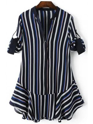 Striped Hit Color V Neck 3/4 Sleeve Dress - Purplish Blue