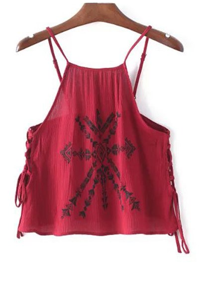 Spaghetti Straps Lace-Up Embroidery Tank Top