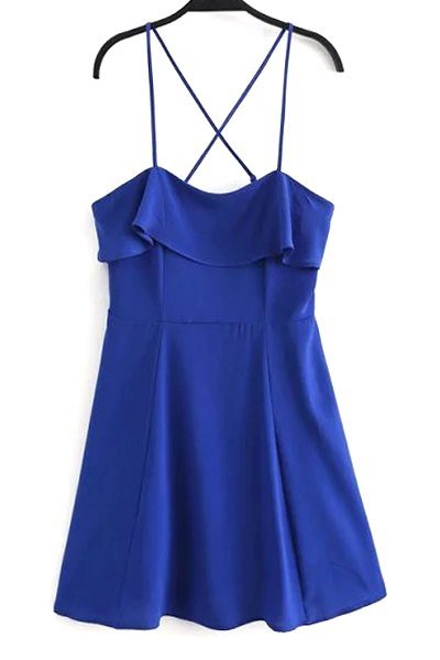 Cami Sleeveless Fitting Solid Color Flounce Ruffles Dress