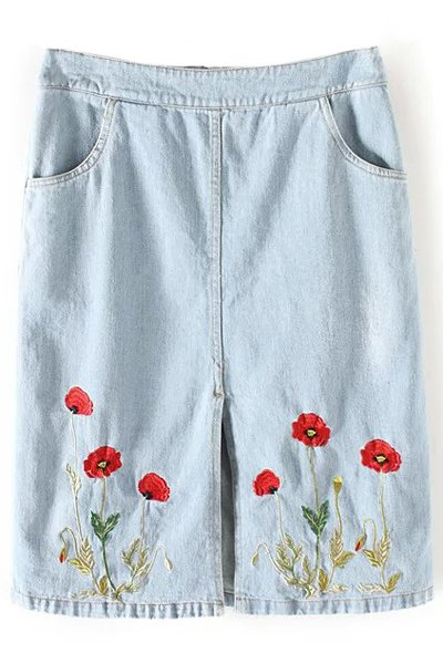 Straight Floral Embroidery Denim Skirt