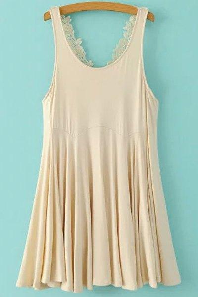 Lace Crisscross Back Flippy DressClothes<br><br><br>Size: XL<br>Color: OFF-WHITE