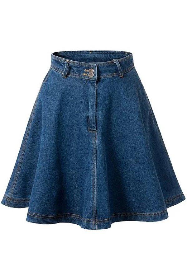 Deep Blue Flare High Waist Denim Skirt DEEP BLUE: Skirts ...