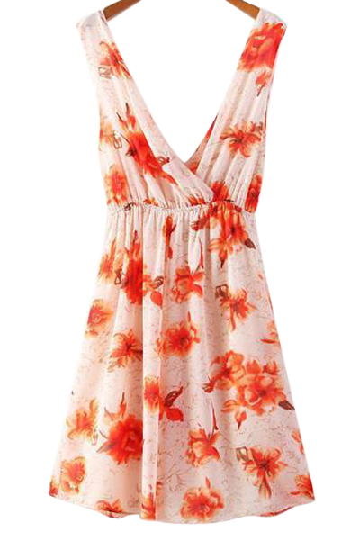 Cross-Over Floral Print Dress