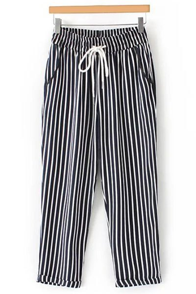 High Waist Casual Striped Nine Minutes of Pant