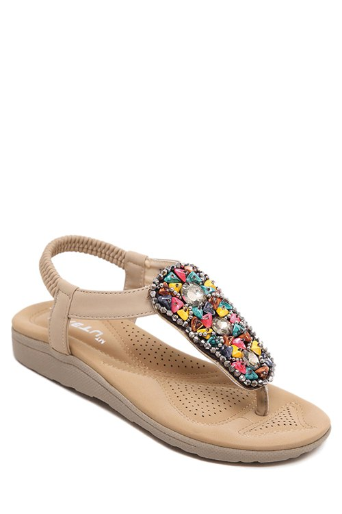 Rhinestone Colorful Stone Elastic Sandals