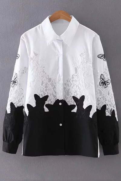 Turn Down Collar Long Sleeve Lace Splice Shirt