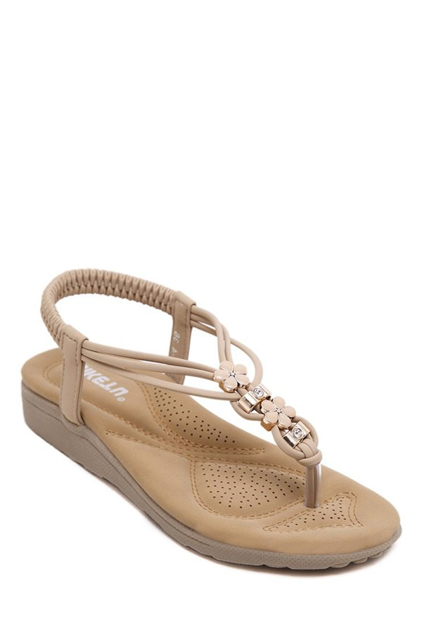 Floral Metal Elastic Sandals