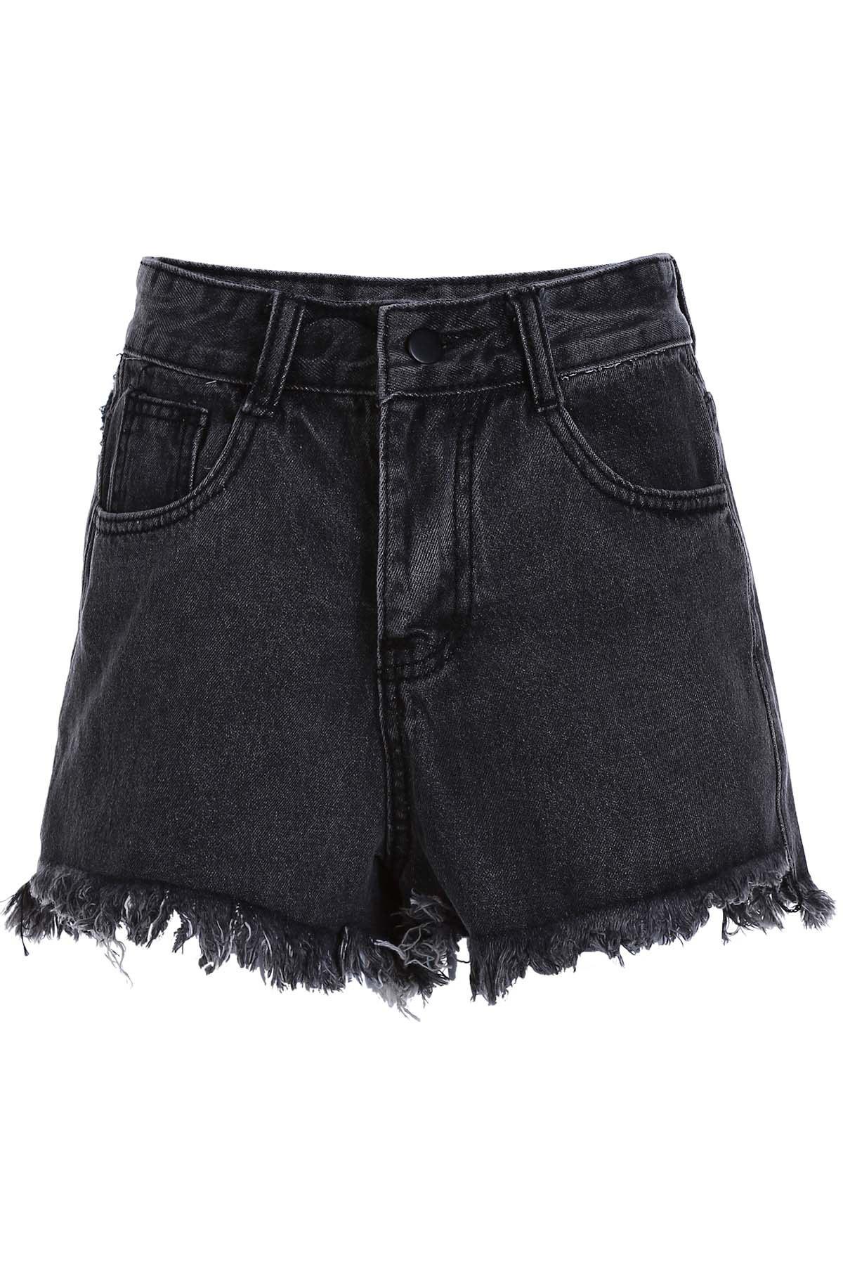 High Waist Denim Black Shorts