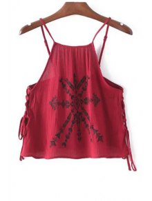 Lace-Up Embroidery Spaghetti Straps Tank Top