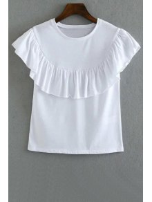 Solid Color Flounce Ruffles Round Neck Short Sleeve T-Shirt - White M