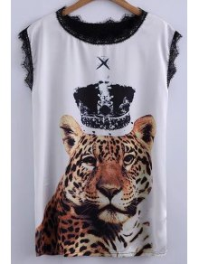 Tiger Print Lace Detail T-Shirt