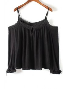 Lace Spliced Cold Shoulder Spaghetti Straps Long Sleeve Blouse - Black M