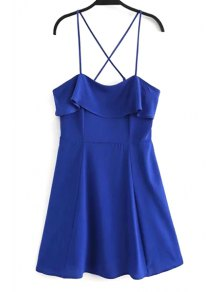 Fitting Solid Color Flounce Ruffles Cami Sleeveless Dress