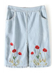 Floral Embroidery Straight Denim Skirt