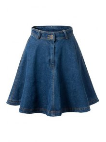 Deep Blue Flare High Waist Denim Skirt - Deep Blue
