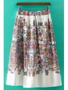 Sweet Floral Print Irregular High Waist Skirt