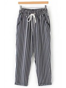 Casual Striped High Waist Nine Minutes of Pant