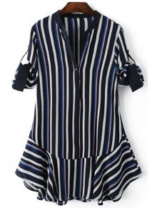 Striped Hit Color V Neck 3/4 Sleeve Dress