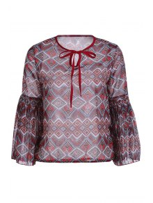 Ethnic Print Long Sleeve Chiffon Blouse