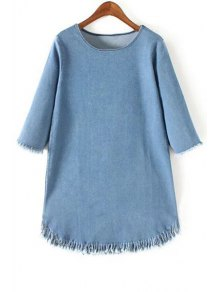 Fringes Round Collar 3/4 Sleeve Denim Dress
