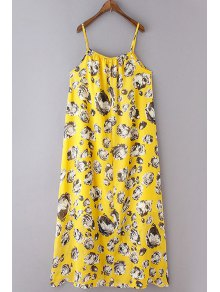 Loose Flower Print Spaghetti Straps Sleeveless Dress - Yellow S