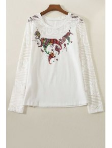Lace Spliced Round Collar Long Sleeve Printed T-Shirt