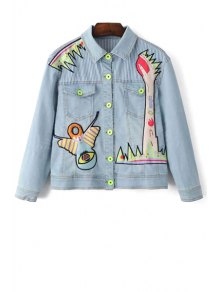 Denim Shirt Collar Long Sleeve Embroidery Jacket - Light Blue