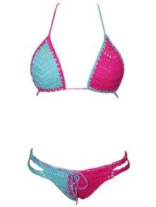 Hit Color Lace-Up Halter Crochet Bikini Set