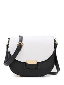 Color Block Metal Cover Crossbody Bag