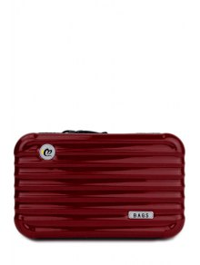 Buy Suitcase Shape Solid Color Clutch Bag - WINE RED