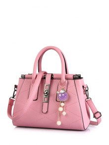 Buy Checked Stitching Pendant Tote Bag PINK