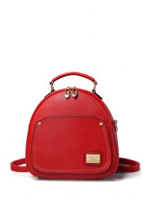 Solid Color Stitching Metal Satchel - Red