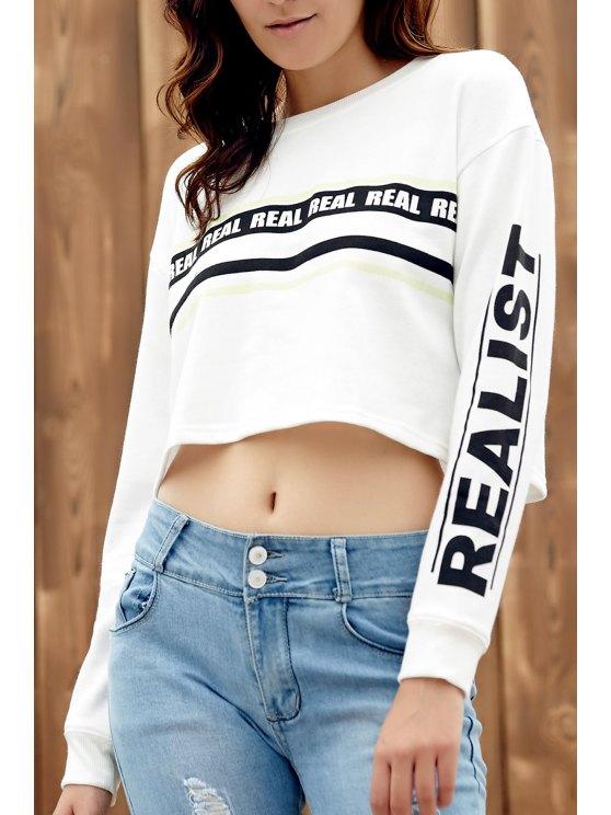 Impreso de cuello redondo larga recortada la camiseta de manga - Blanco XL