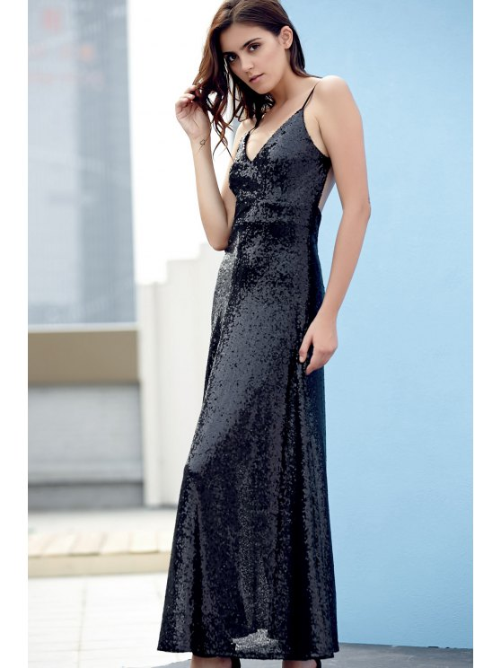 Backless Sequins Spaghetti Strap Maxi Dress - BLACK L Mobile