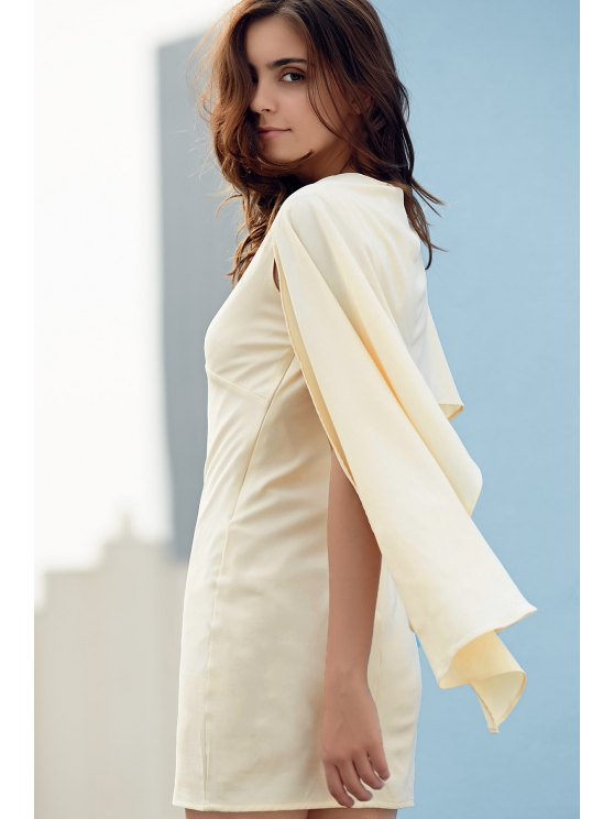 Bodycon Plunging Neck Cape Sleeve Mini Dress - OFF-WHITE L Mobile