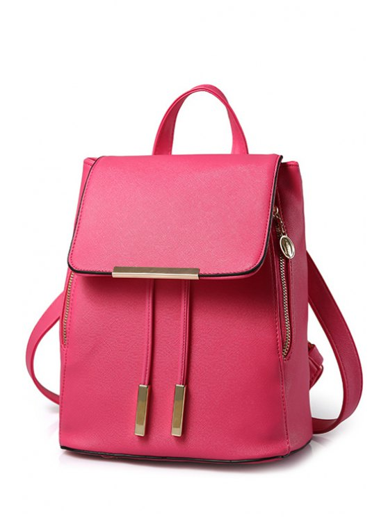 chic Cover Metal Solid Color Satchel - ROSE