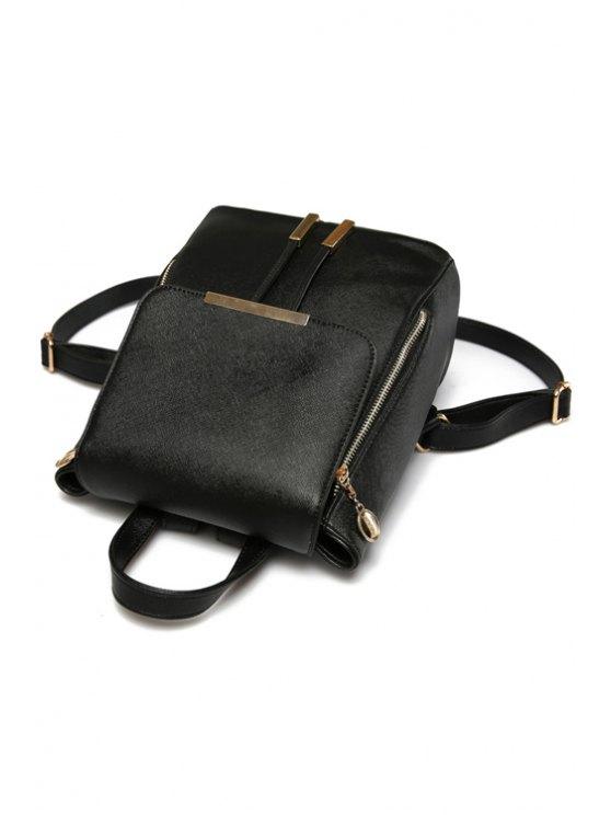 Cover Metal Solid Color Satchel - BLACK  Mobile