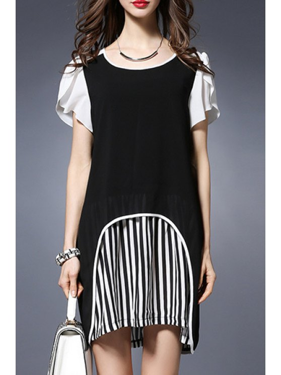 hot Stripe Spliced Round Collar Short Sleeve Chiffon Dress - BLACK 2XL