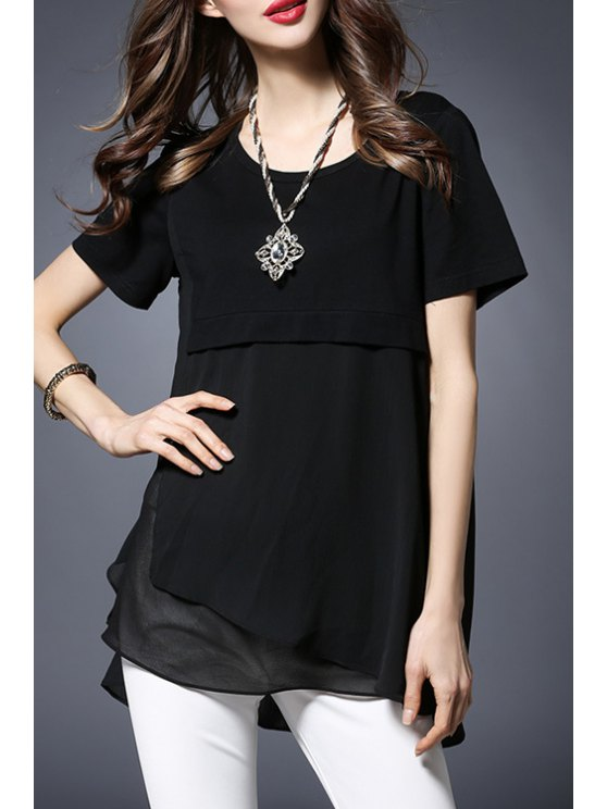 Collier en mousseline de soie Spliced ​​ronde manches courtes T-shirt - Noir 4XL