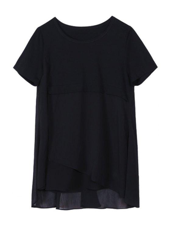 Chiffon Spliced Round Collar Short Sleeve T-Shirt - BLACK 4XL Mobile