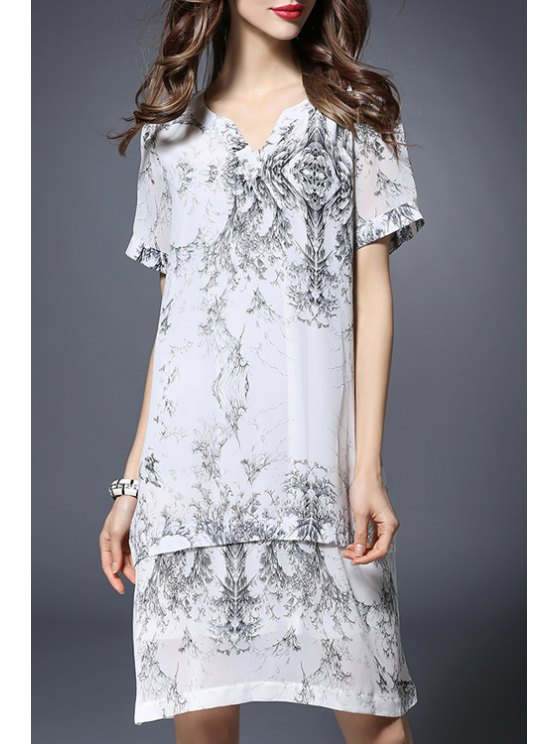 shop Printed Notched Neck Short Sleeve Dress - WHITE 3XL